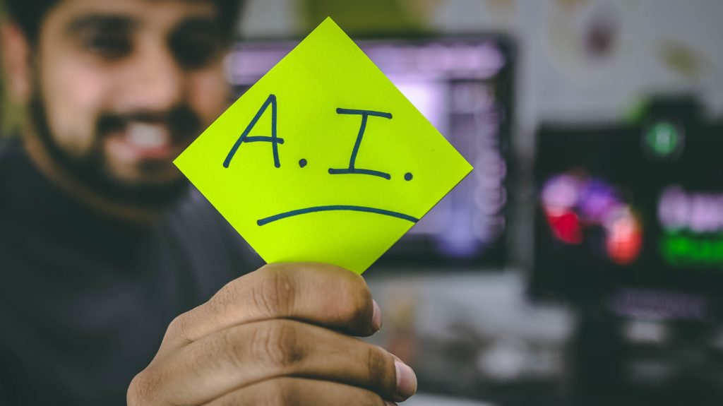 Man with Post-it saying A.I.